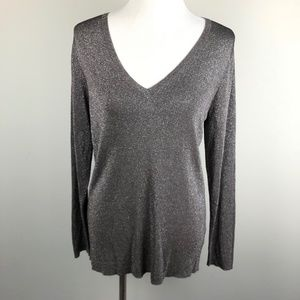 Eileen Fisher Large L Top Gray Silver Metallic